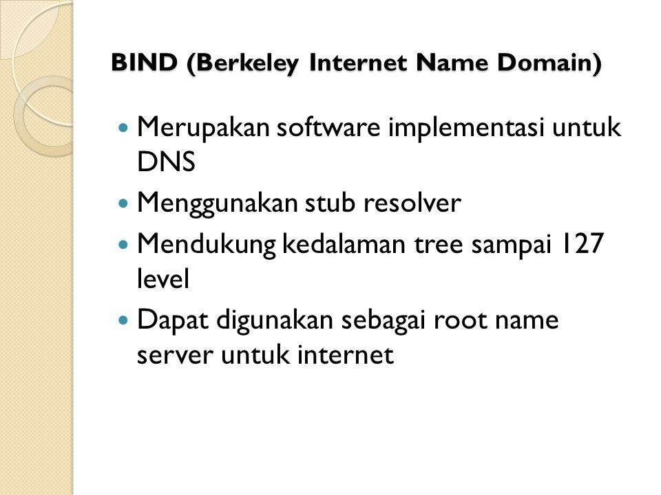BIND (Berkeley Internet Name Domain) Merupakan software implementasi untuk DNS Menggunakan stub resolver Mendukung kedalaman tree sampai 127 level Dap