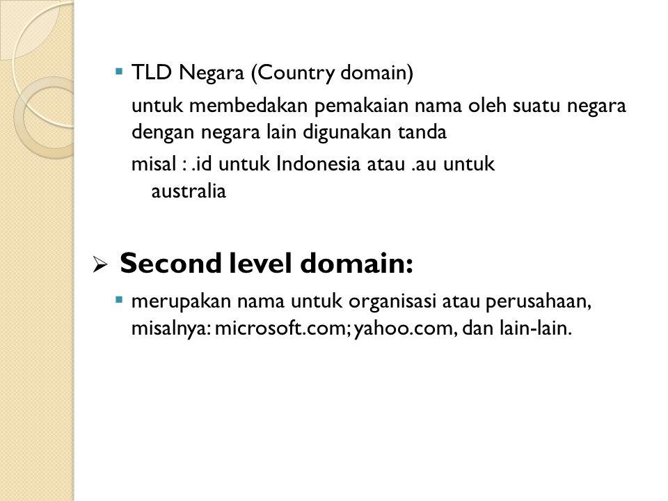  TLD Negara (Country domain) untuk membedakan pemakaian nama oleh suatu negara dengan negara lain digunakan tanda misal :.id untuk Indonesia atau.au