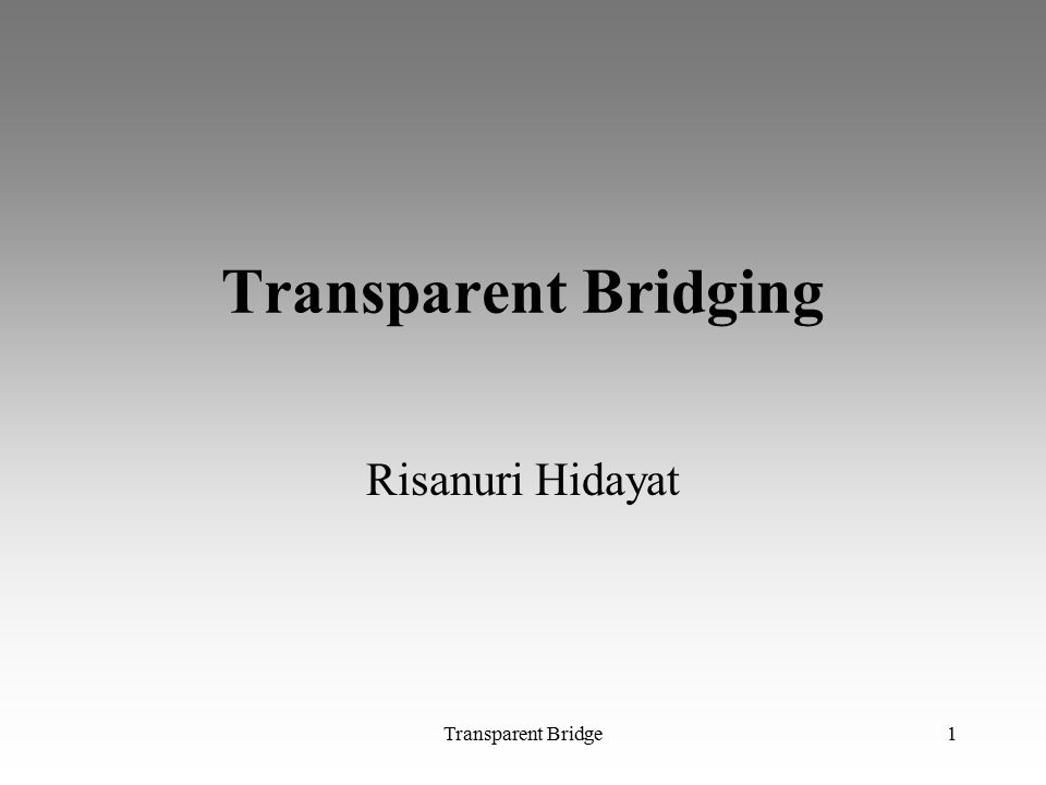 Transparent Bridge1 Transparent Bridging Risanuri Hidayat