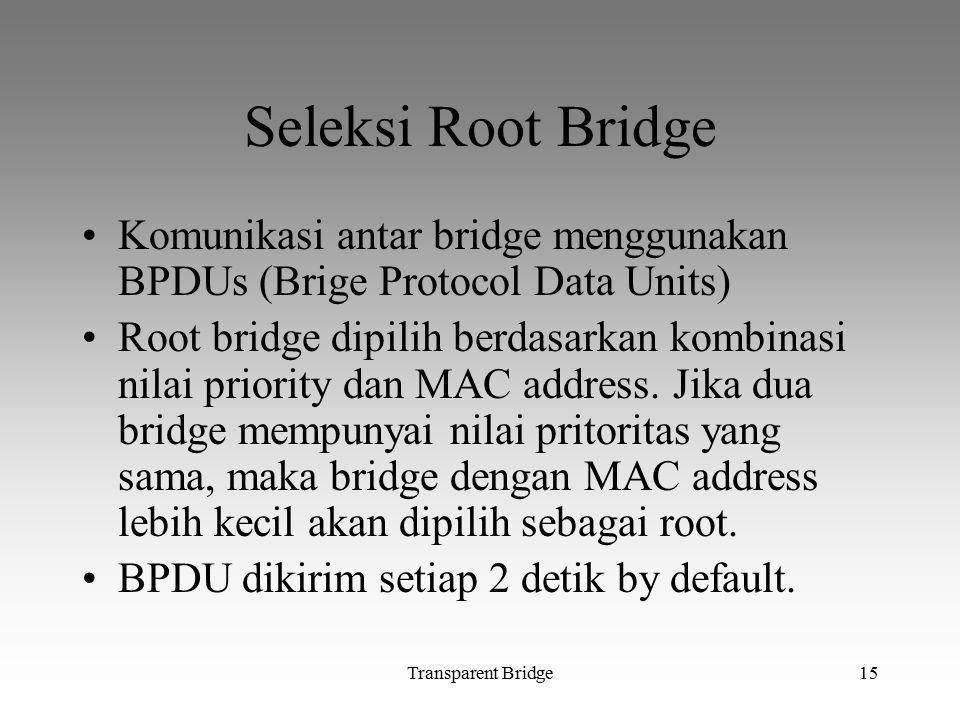 Transparent Bridge15 Seleksi Root Bridge Komunikasi antar bridge menggunakan BPDUs (Brige Protocol Data Units) Root bridge dipilih berdasarkan kombina