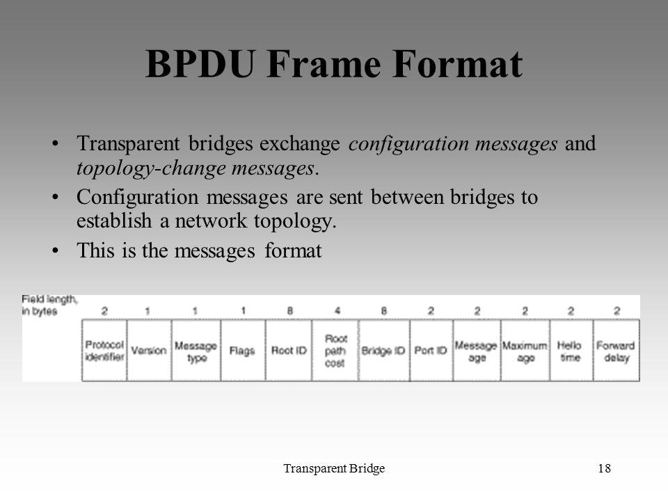 Transparent Bridge18 BPDU Frame Format Transparent bridges exchange configuration messages and topology-change messages. Configuration messages are se