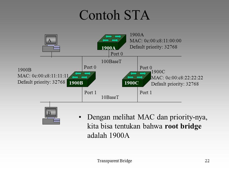 Transparent Bridge22 Contoh STA Dengan melihat MAC dan priority-nya, kita bisa tentukan bahwa root bridge adalah 1900A A B 1900A MAC: 0c:00:c8:11:00:0