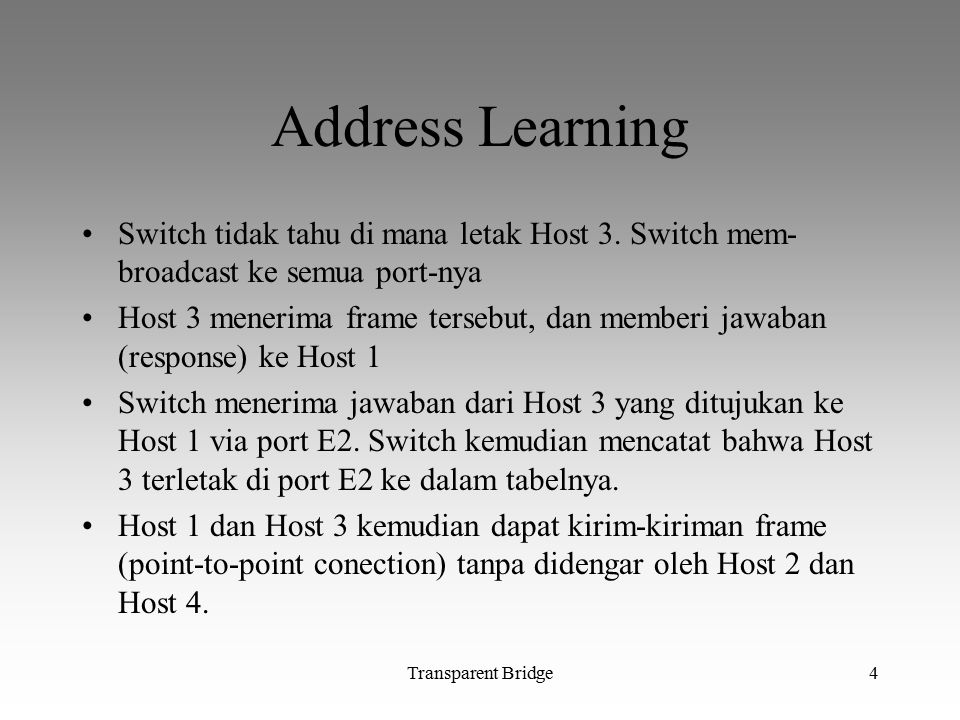 Transparent Bridge4 Address Learning Switch tidak tahu di mana letak Host 3. Switch mem- broadcast ke semua port-nya Host 3 menerima frame tersebut, d