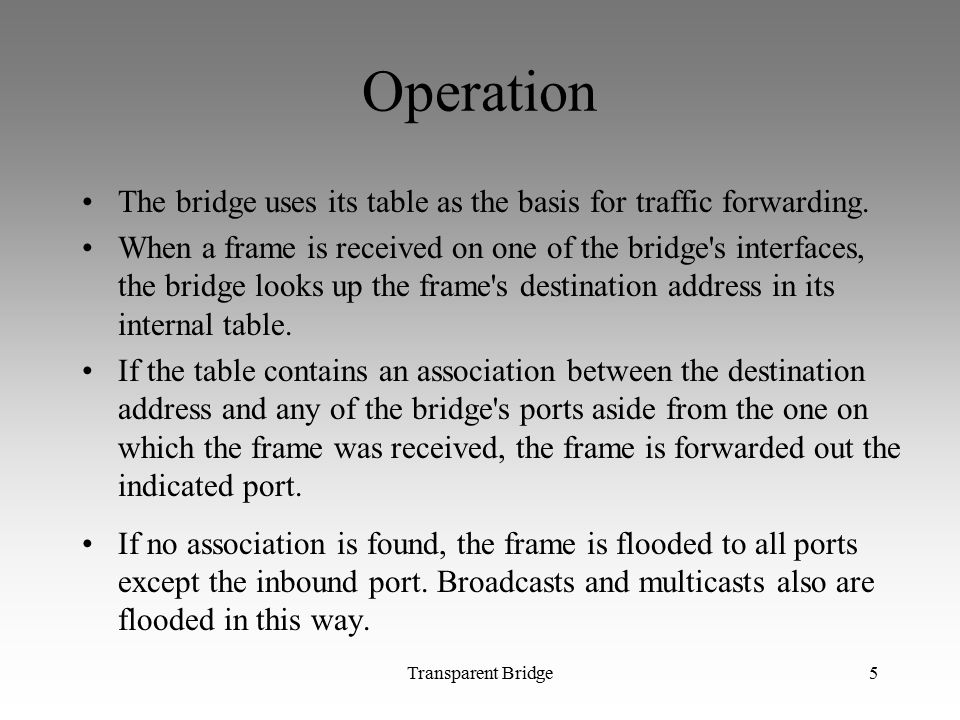 Transparent Bridge5 Operation The bridge uses its table as the basis for traffic forwarding.