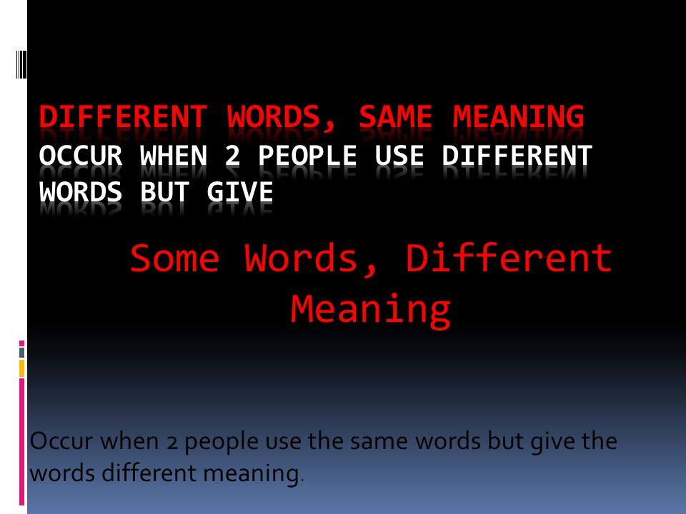 Some Words, Different Meaning Occur when 2 people use the same words but give the words different meaning.