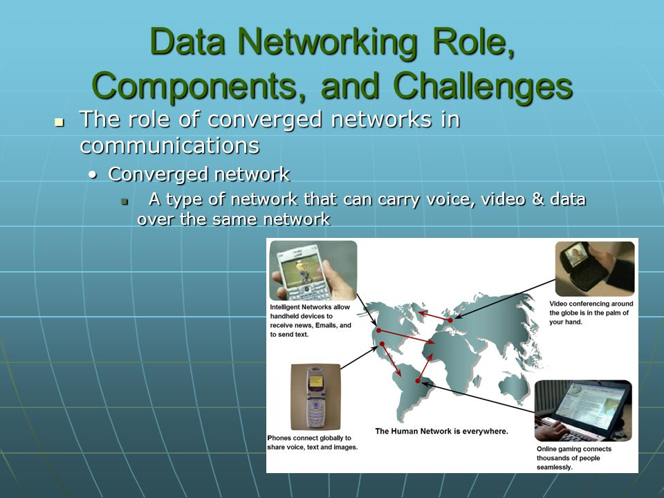 Data Networking Role, Components, and Challenges The role of converged networks in communications The role of converged networks in communications Converged networkConverged network A type of network that can carry voice, video & data over the same network A type of network that can carry voice, video & data over the same network
