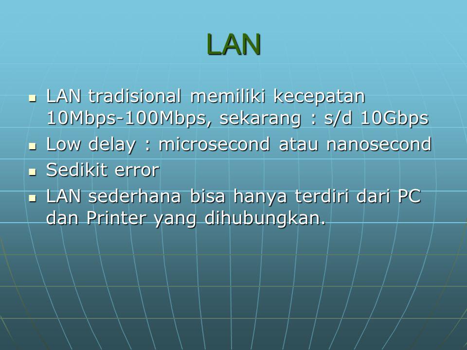 LAN LAN tradisional memiliki kecepatan 10Mbps-100Mbps, sekarang : s/d 10Gbps LAN tradisional memiliki kecepatan 10Mbps-100Mbps, sekarang : s/d 10Gbps Low delay : microsecond atau nanosecond Low delay : microsecond atau nanosecond Sedikit error Sedikit error LAN sederhana bisa hanya terdiri dari PC dan Printer yang dihubungkan.