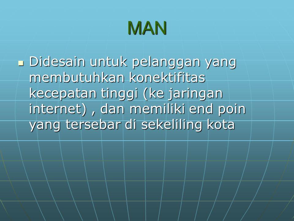 MAN Didesain untuk pelanggan yang membutuhkan konektifitas kecepatan tinggi (ke jaringan internet), dan memiliki end poin yang tersebar di sekeliling kota Didesain untuk pelanggan yang membutuhkan konektifitas kecepatan tinggi (ke jaringan internet), dan memiliki end poin yang tersebar di sekeliling kota