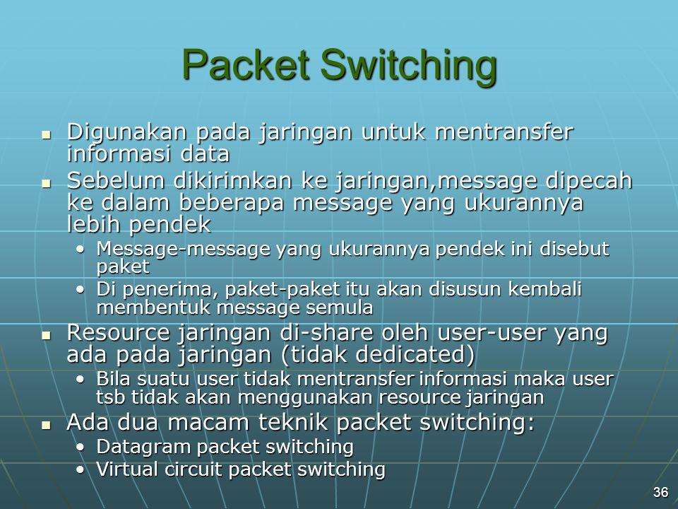 36 Packet Switching Digunakan pada jaringan untuk mentransfer informasi data Digunakan pada jaringan untuk mentransfer informasi data Sebelum dikirimkan ke jaringan,message dipecah ke dalam beberapa message yang ukurannya lebih pendek Sebelum dikirimkan ke jaringan,message dipecah ke dalam beberapa message yang ukurannya lebih pendek Message-message yang ukurannya pendek ini disebut paketMessage-message yang ukurannya pendek ini disebut paket Di penerima, paket-paket itu akan disusun kembali membentuk message semulaDi penerima, paket-paket itu akan disusun kembali membentuk message semula Resource jaringan di-share oleh user-user yang ada pada jaringan (tidak dedicated) Resource jaringan di-share oleh user-user yang ada pada jaringan (tidak dedicated) Bila suatu user tidak mentransfer informasi maka user tsb tidak akan menggunakan resource jaringanBila suatu user tidak mentransfer informasi maka user tsb tidak akan menggunakan resource jaringan Ada dua macam teknik packet switching: Ada dua macam teknik packet switching: Datagram packet switchingDatagram packet switching Virtual circuit packet switchingVirtual circuit packet switching