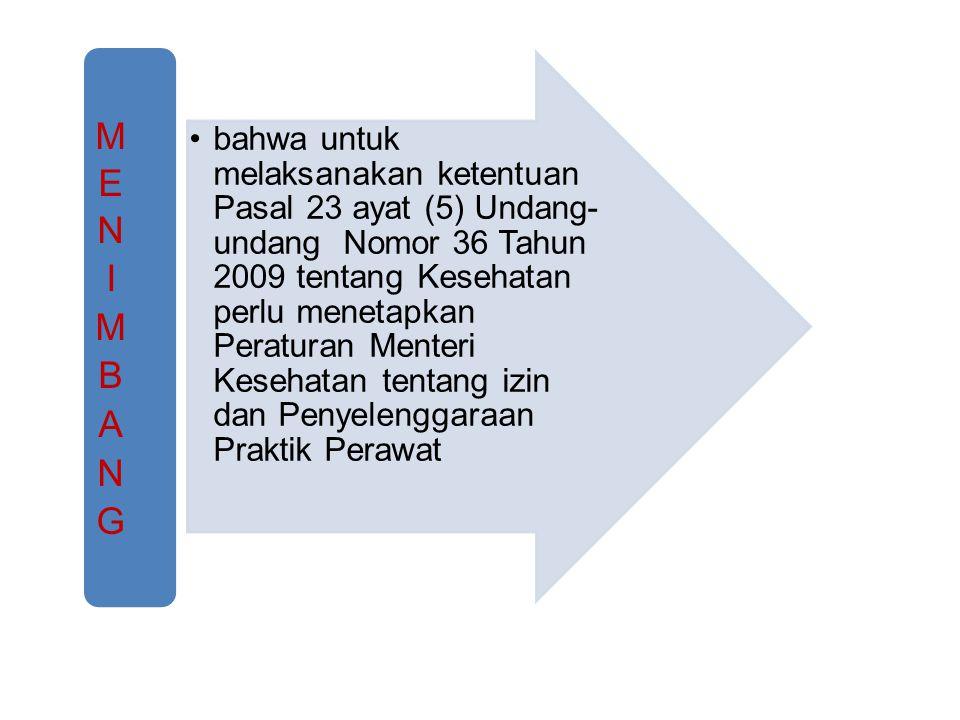 bahwa untuk melaksanakan ketentuan Pasal 23 ayat (5) Undang- undang Nomor 36 Tahun 2009 tentang Kesehatan perlu menetapkan Peraturan Menteri Kesehatan tentang izin dan Penyelenggaraan Praktik Perawat