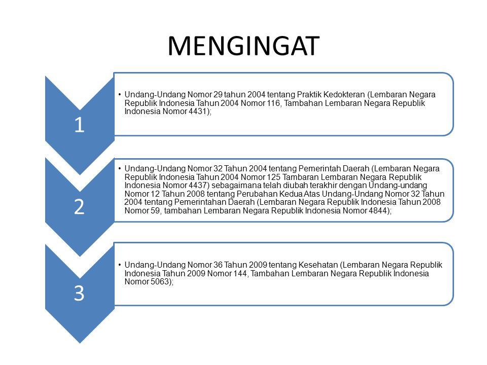 MENGINGAT 1 Undang-Undang Nomor 29 tahun 2004 tentang Praktik Kedokteran (Lembaran Negara Republik Indonesia Tahun 2004 Nomor 116, Tambahan Lembaran Negara Republik Indonesia Nomor 4431); 2 Undang-Undang Nomor 32 Tahun 2004 tentang Pemerintah Daerah (Lembaran Negara Republik Indonesia Tahun 2004 Nomor 125 Tambaran Lembaran Negara Republik Indonesia Nomor 4437) sebagaimana telah diubah terakhir dengan Undang-undang Nomor 12 Tahun 2008 tentang Perubahan Kedua Atas Undang-Undang Nomor 32 Tahun 2004 tentang Pemerintahan Daerah (Lembaran Negara Republik Indonesia Tahun 2008 Nomor 59, tambahan Lembaran Negara Republik Indonesia Nomor 4844); 3 Undang-Undang Nomor 36 Tahun 2009 tentang Kesehatan (Lembaran Negara Republik Indonesia Tahun 2009 Nomor 144, Tambahan Lembaran Negara Republik Indonesia Nomor 5063);