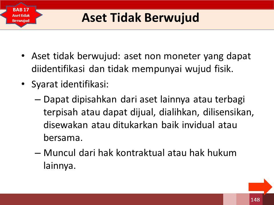 Aset Tidak Berwujud Aset tidak berwujud: aset non moneter yang dapat diidentifikasi dan tidak mempunyai wujud fisik. Syarat identifikasi: – Dapat dipi