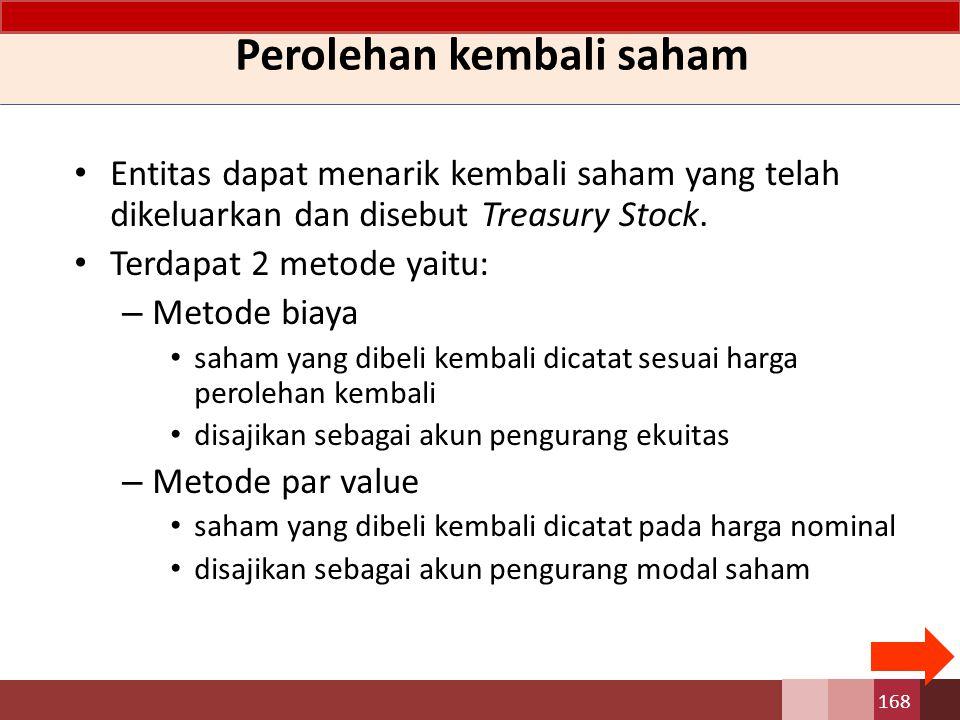 Entitas dapat menarik kembali saham yang telah dikeluarkan dan disebut Treasury Stock. Terdapat 2 metode yaitu: – Metode biaya saham yang dibeli kemba
