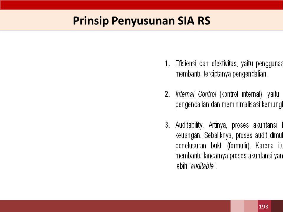 Prinsip Penyusunan SIA RS 193