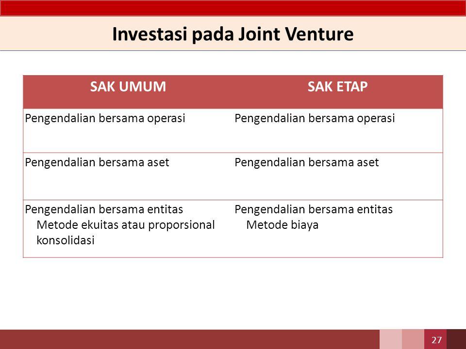 SAK UMUMSAK ETAP Pengendalian bersama operasi Pengendalian bersama aset Pengendalian bersama entitas Metode ekuitas atau proporsional konsolidasi Pengendalian bersama entitas Metode biaya Investasi pada Joint Venture 27