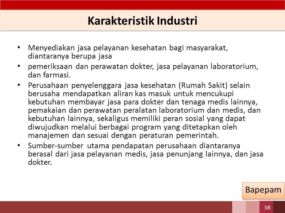 Karakteristik Industri Menyediakan jasa pelayanan kesehatan bagi masyarakat, diantaranya berupa jasa pemeriksaan dan perawatan dokter, jasa pelayanan laboratorium, dan farmasi.