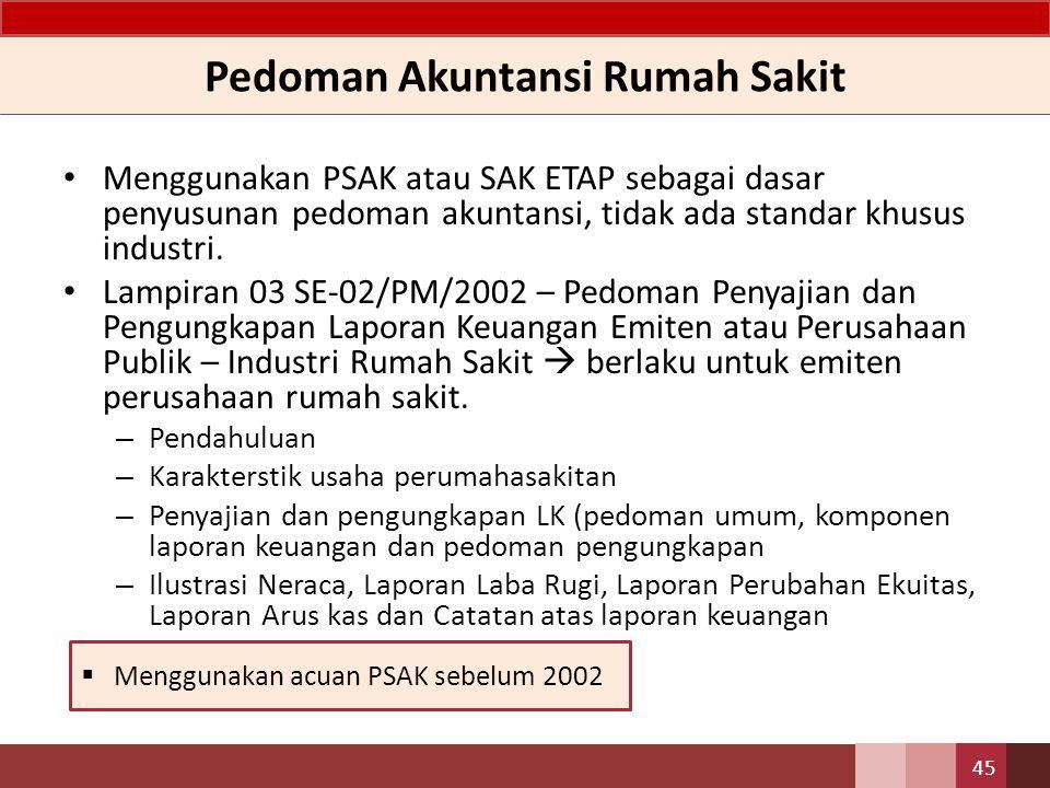 Pedoman Akuntansi Rumah Sakit Menggunakan PSAK atau SAK ETAP sebagai dasar penyusunan pedoman akuntansi, tidak ada standar khusus industri. Lampiran 0