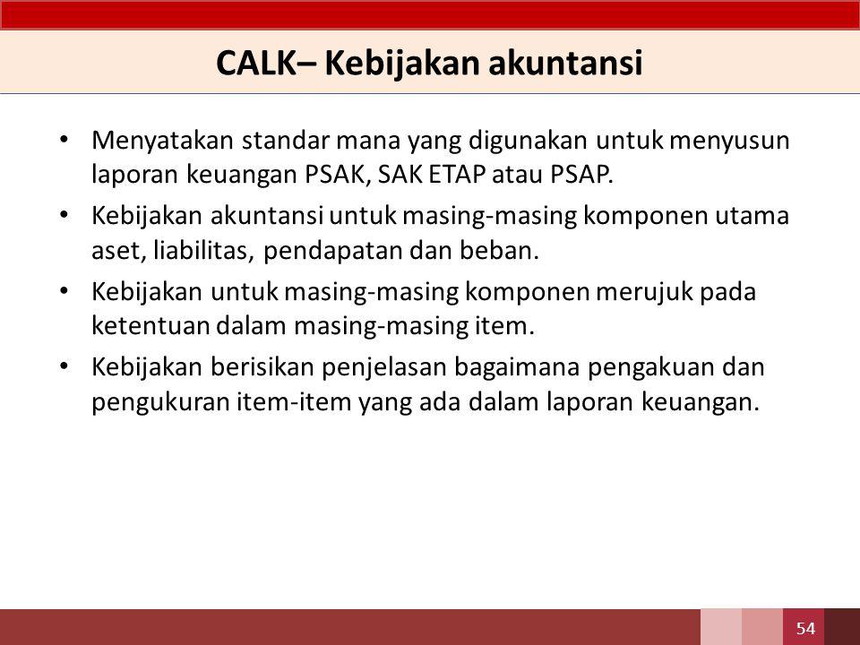 CALK– Kebijakan akuntansi Menyatakan standar mana yang digunakan untuk menyusun laporan keuangan PSAK, SAK ETAP atau PSAP.