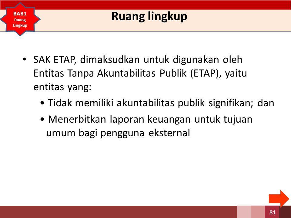 Ruang lingkup SAK ETAP, dimaksudkan untuk digunakan oleh Entitas Tanpa Akuntabilitas Publik (ETAP), yaitu entitas yang: Tidak memiliki akuntabilitas publik signifikan; dan Menerbitkan laporan keuangan untuk tujuan umum bagi pengguna eksternal 81 BAB1 Ruang Lingkup
