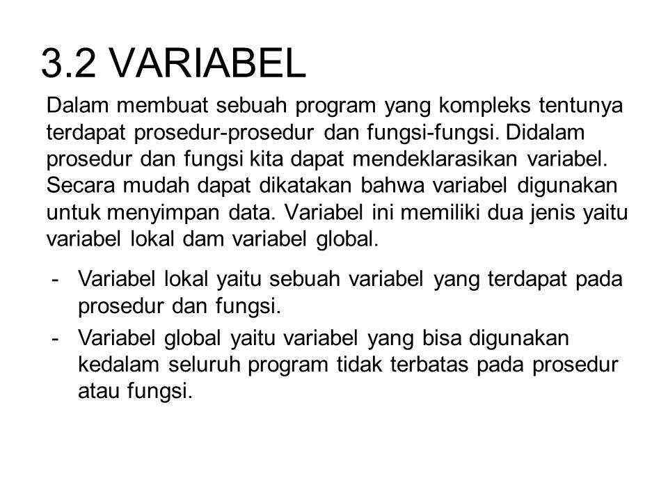 3.2 VARIABEL Dalam membuat sebuah program yang kompleks tentunya terdapat prosedur-prosedur dan fungsi-fungsi. Didalam prosedur dan fungsi kita dapat