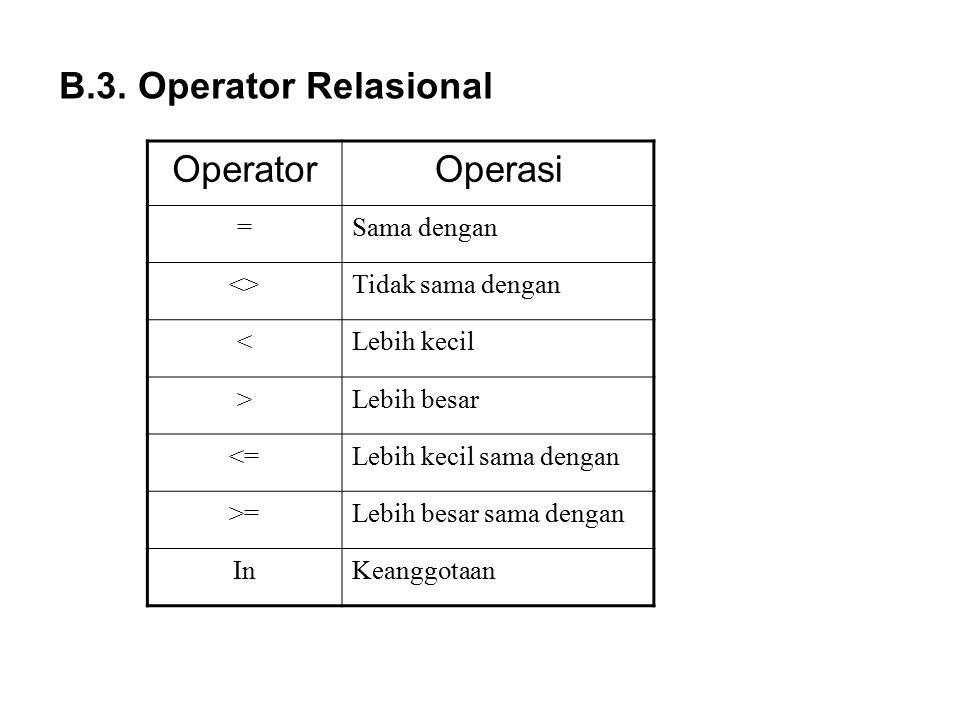 B.3. Operator Relasional OperatorOperasi =Sama dengan <>Tidak sama dengan <Lebih kecil >Lebih besar <=Lebih kecil sama dengan >=Lebih besar sama denga