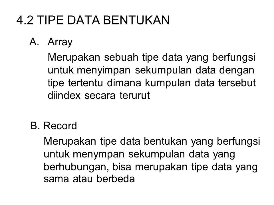 4.2 TIPE DATA BENTUKAN A.Array Merupakan sebuah tipe data yang berfungsi untuk menyimpan sekumpulan data dengan tipe tertentu dimana kumpulan data ter