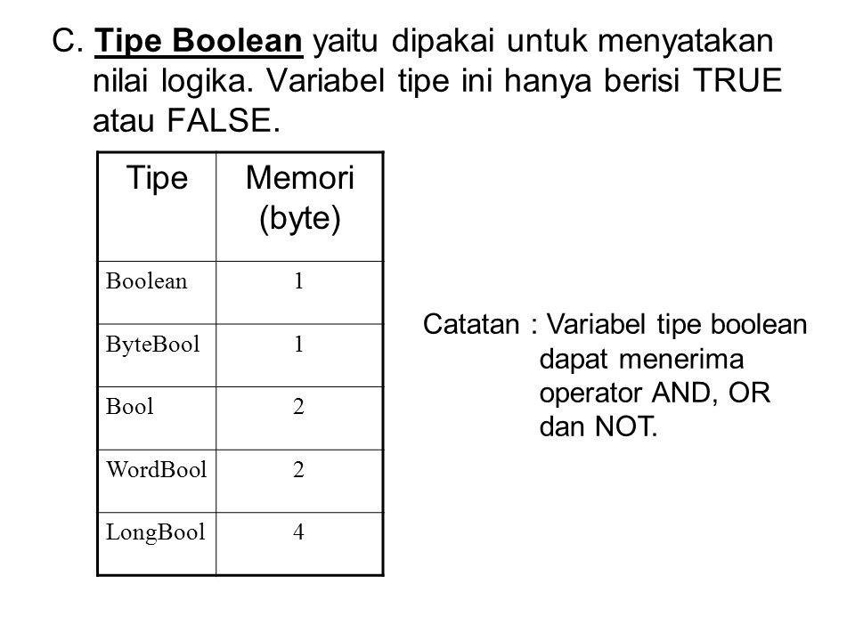 C. Tipe Boolean yaitu dipakai untuk menyatakan nilai logika. Variabel tipe ini hanya berisi TRUE atau FALSE. TipeMemori (byte) Boolean1 ByteBool1 Bool