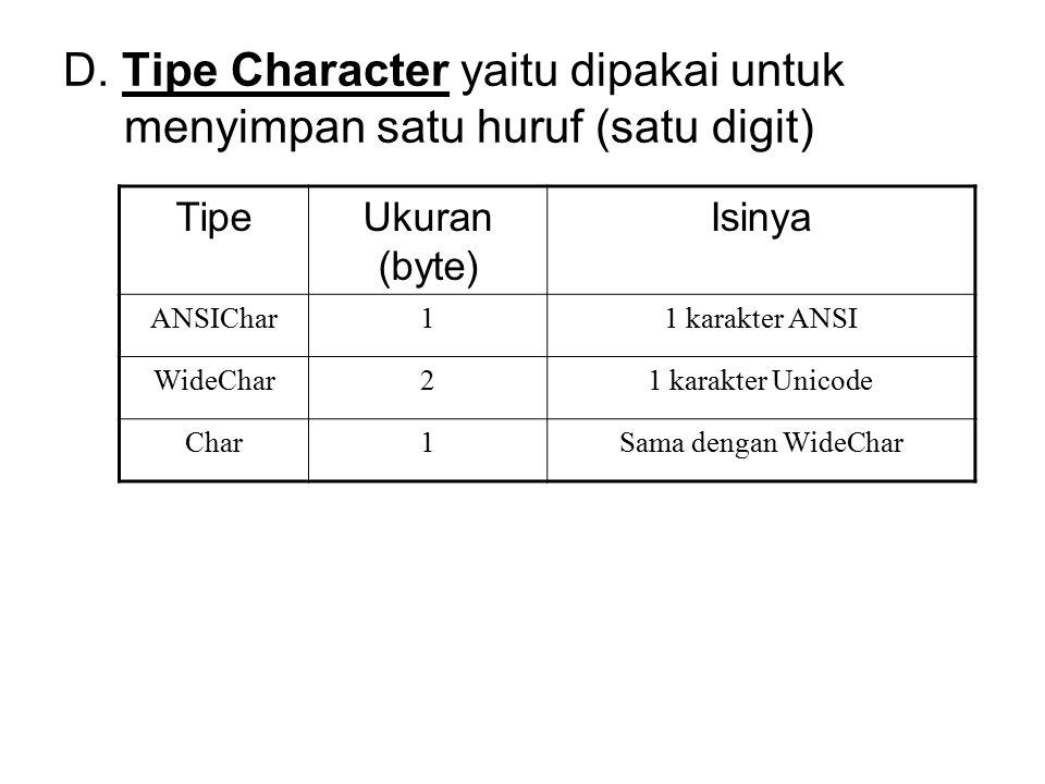 D. Tipe Character yaitu dipakai untuk menyimpan satu huruf (satu digit) TipeUkuran (byte) Isinya ANSIChar11 karakter ANSI WideChar21 karakter Unicode