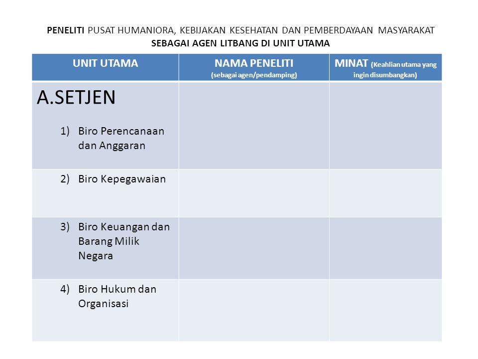 UNIT UTAMANAMA PENELITI (sebagai agen/pendamping) MINAT (Keahlian utama yang ingin disumbangkan) A.SETJEN 1)Biro Perencanaan dan Anggaran 2)Biro Kepeg