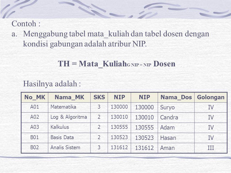 Contoh : a.Menggabung tabel mata_kuliah dan tabel dosen dengan kondisi gabungan adalah atribur NIP.