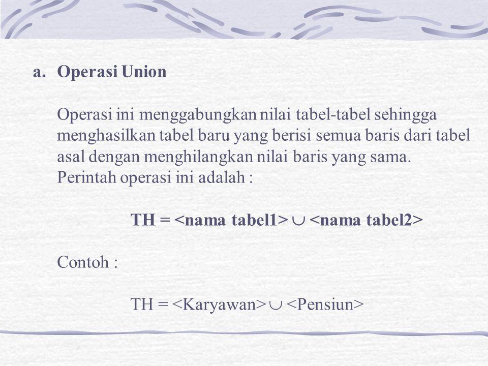 a.Operasi Union Operasi ini menggabungkan nilai tabel-tabel sehingga menghasilkan tabel baru yang berisi semua baris dari tabel asal dengan menghilangkan nilai baris yang sama.
