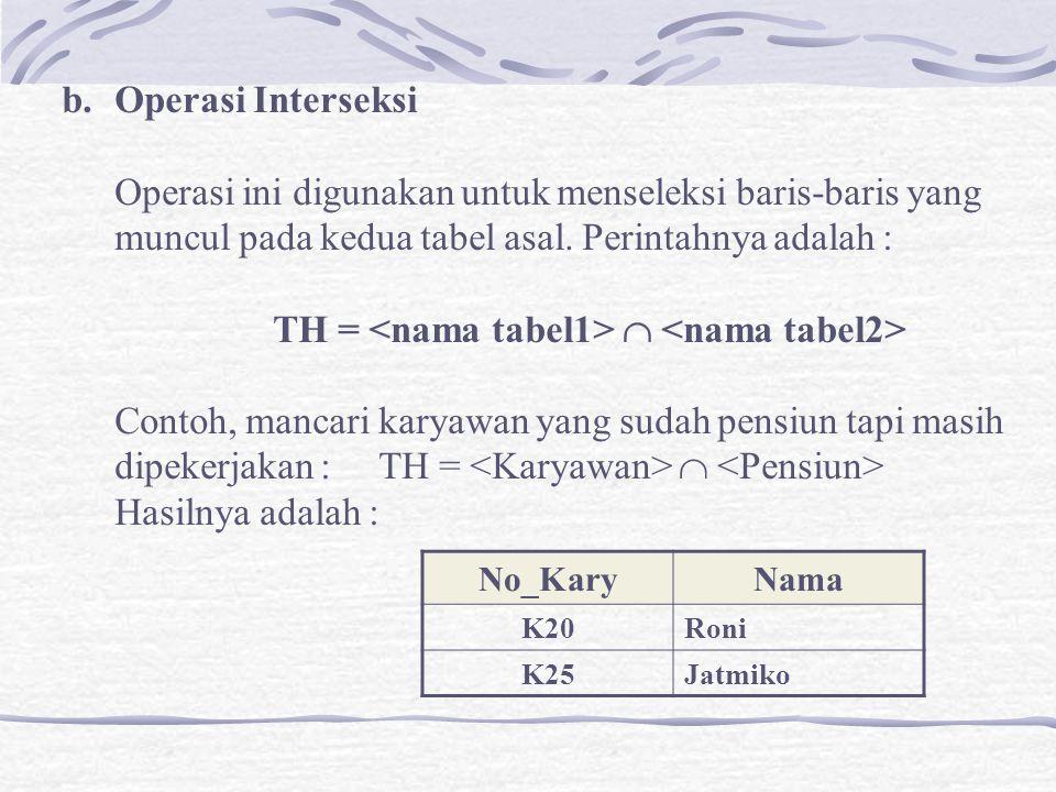 b.Operasi Interseksi Operasi ini digunakan untuk menseleksi baris-baris yang muncul pada kedua tabel asal.