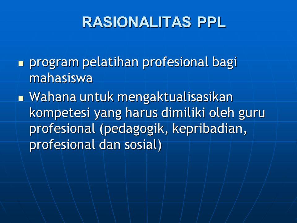 RASIONALITAS PPL program pelatihan profesional bagi mahasiswa program pelatihan profesional bagi mahasiswa Wahana untuk mengaktualisasikan kompetesi y