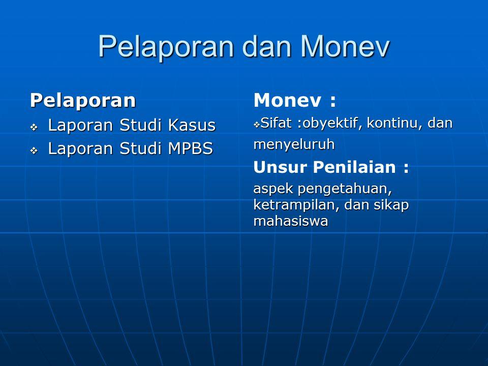 Pelaporan dan Monev Pelaporan  Laporan Studi Kasus  Laporan Studi MPBS Monev :  Sifat :obyektif, kontinu, dan menyeluruh Unsur Penilaian : aspek pe