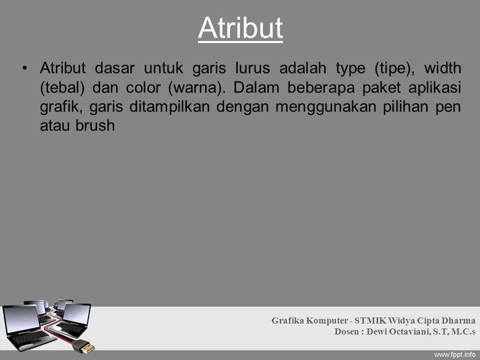 Atribut Atribut dasar untuk garis lurus adalah type (tipe), width (tebal) dan color (warna). Dalam beberapa paket aplikasi grafik, garis ditampilkan d