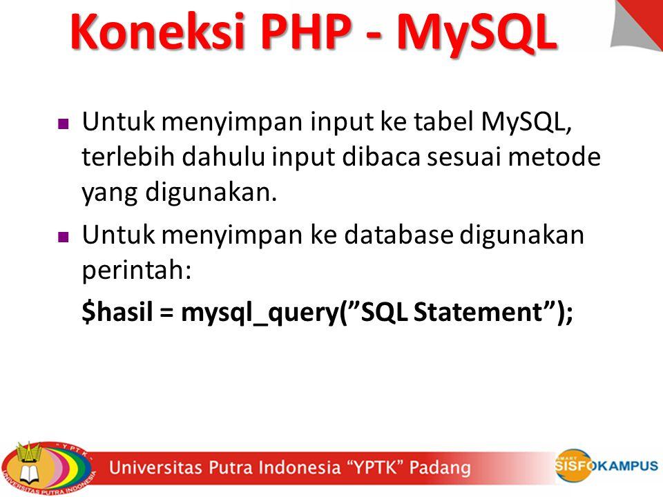 Untuk menyimpan input ke tabel MySQL, terlebih dahulu input dibaca sesuai metode yang digunakan.