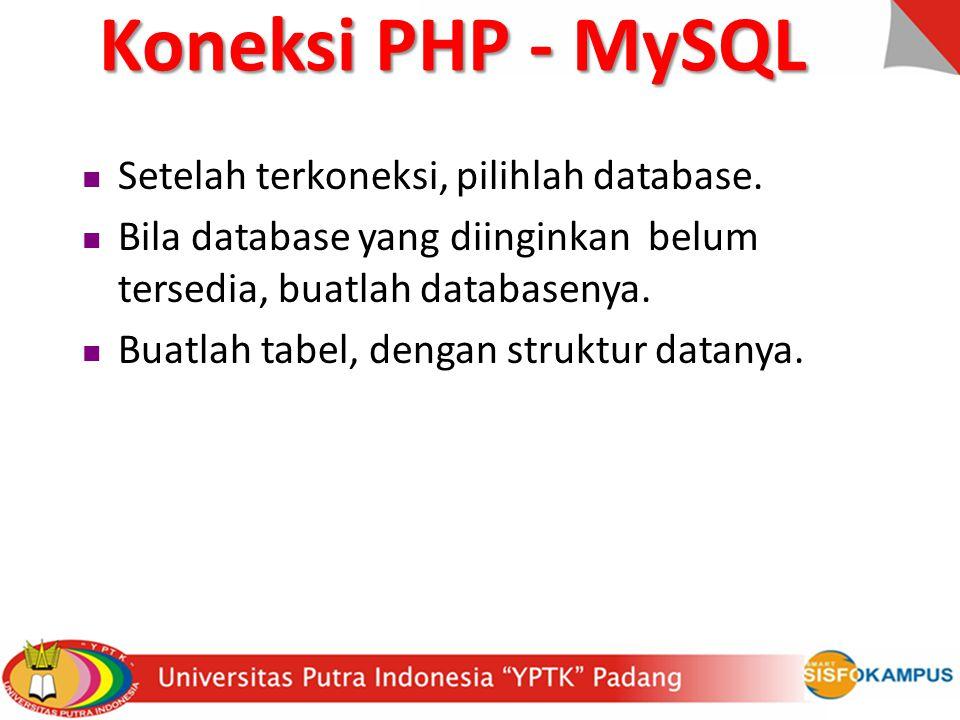 Setelah terkoneksi, pilihlah database. Bila database yang diinginkan belum tersedia, buatlah databasenya. Buatlah tabel, dengan struktur datanya. Kone