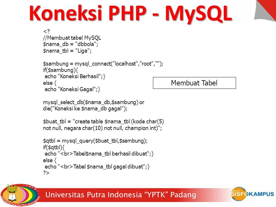 """<? //Membuat tabel MySQL $nama_db = """"dbbola"""