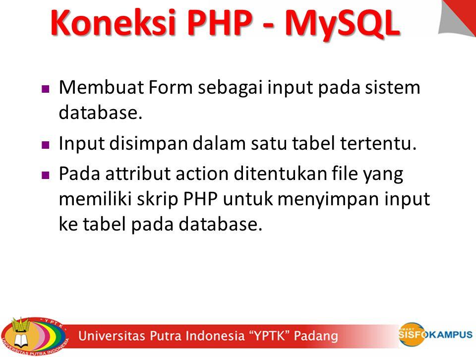 Membuat Form sebagai input pada sistem database. Input disimpan dalam satu tabel tertentu. Pada attribut action ditentukan file yang memiliki skrip PH