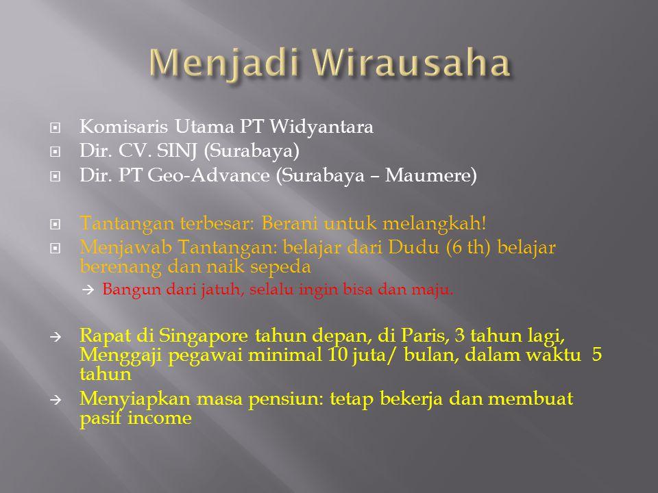  Komisaris Utama PT Widyantara  Dir. CV. SINJ (Surabaya)  Dir. PT Geo-Advance (Surabaya – Maumere)  Tantangan terbesar: Berani untuk melangkah! 