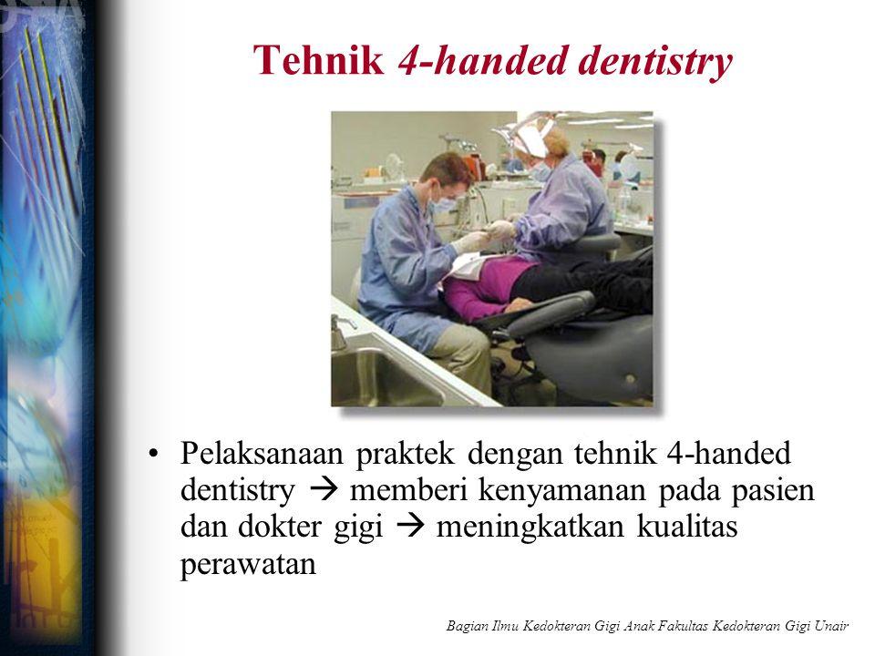Tehnik 4-handed dentistry Pelaksanaan praktek dengan tehnik 4-handed dentistry  memberi kenyamanan pada pasien dan dokter gigi  meningkatkan kualita