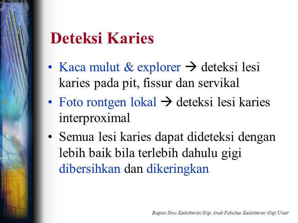 Deteksi Karies Kaca mulut & explorer  deteksi lesi karies pada pit, fissur dan servikal Foto rontgen lokal  deteksi lesi karies interproximal Semua