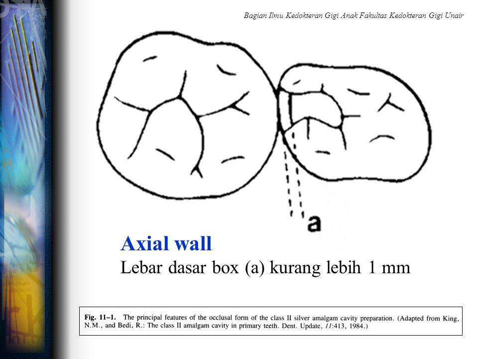 Axial wall Lebar dasar box (a) kurang lebih 1 mm Bagian Ilmu Kedokteran Gigi Anak Fakultas Kedokteran Gigi Unair