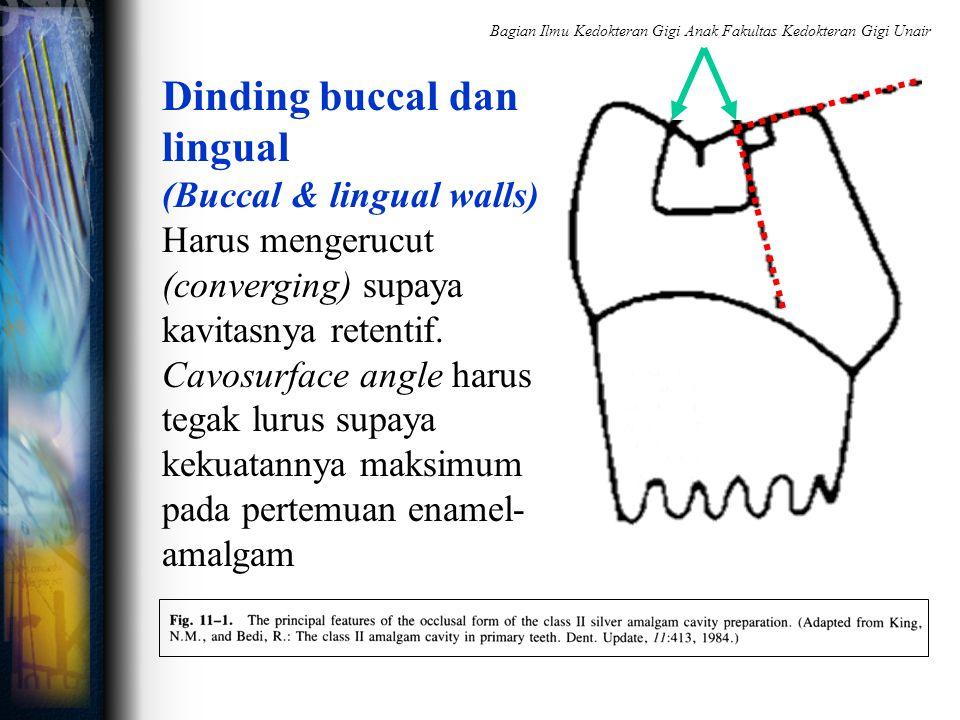 Dinding buccal dan lingual (Buccal & lingual walls) Harus mengerucut (converging) supaya kavitasnya retentif. Cavosurface angle harus tegak lurus supa
