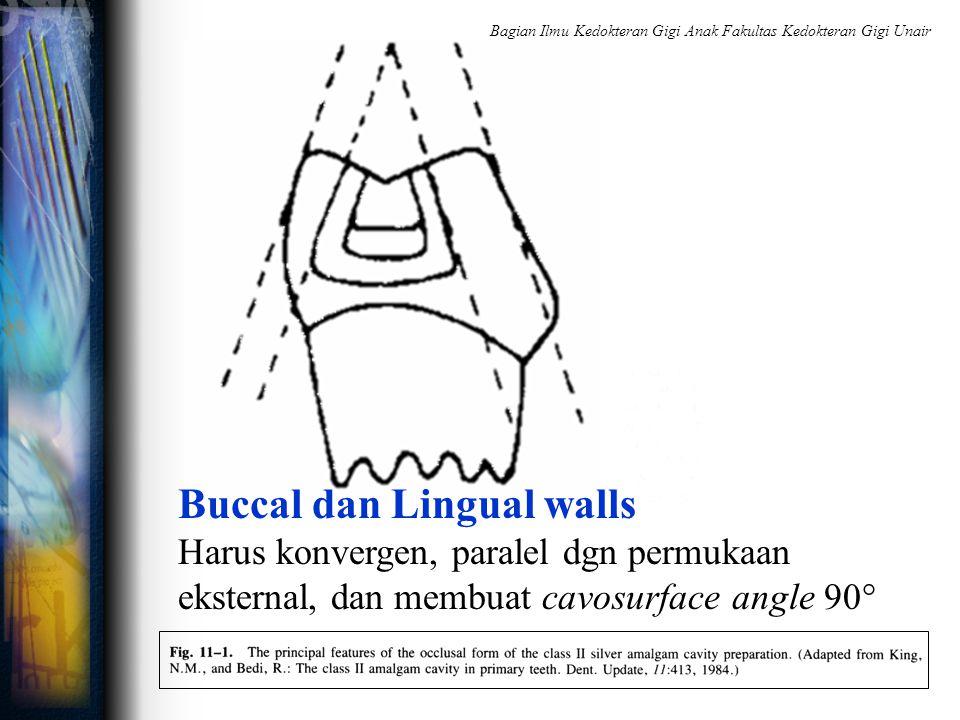 Buccal dan Lingual walls Harus konvergen, paralel dgn permukaan eksternal, dan membuat cavosurface angle 90° Bagian Ilmu Kedokteran Gigi Anak Fakultas