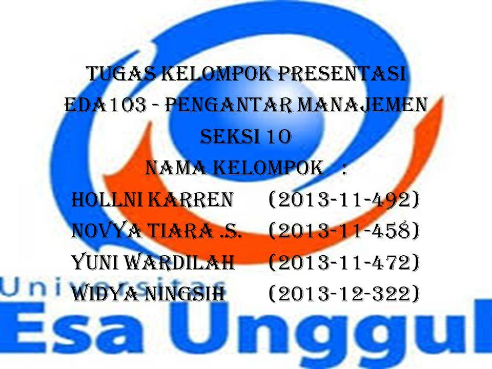 TUGAS KELOMPOK PRESENTASI EDA103 - PENGANTAR MANAJEMEN SEKSI 1O Nama Kelompok: Hollni karren (2013-11-492) Novya Tiara.S.(2013-11-458) Yuni Wardilah(2