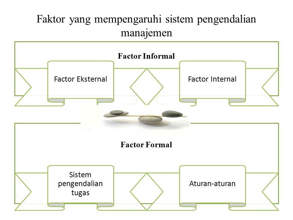 Faktor yang mempengaruhi sistem pengendalian manajemen Factor Formal Sistem pengendalian tugas Aturan-aturan Factor Informal Factor EksternalFactor In