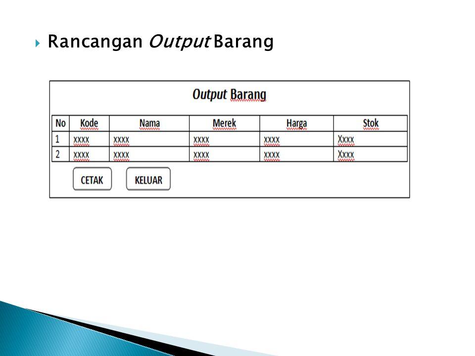  Rancangan Output Barang