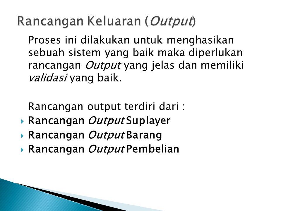  Rancangan Output Suplayer