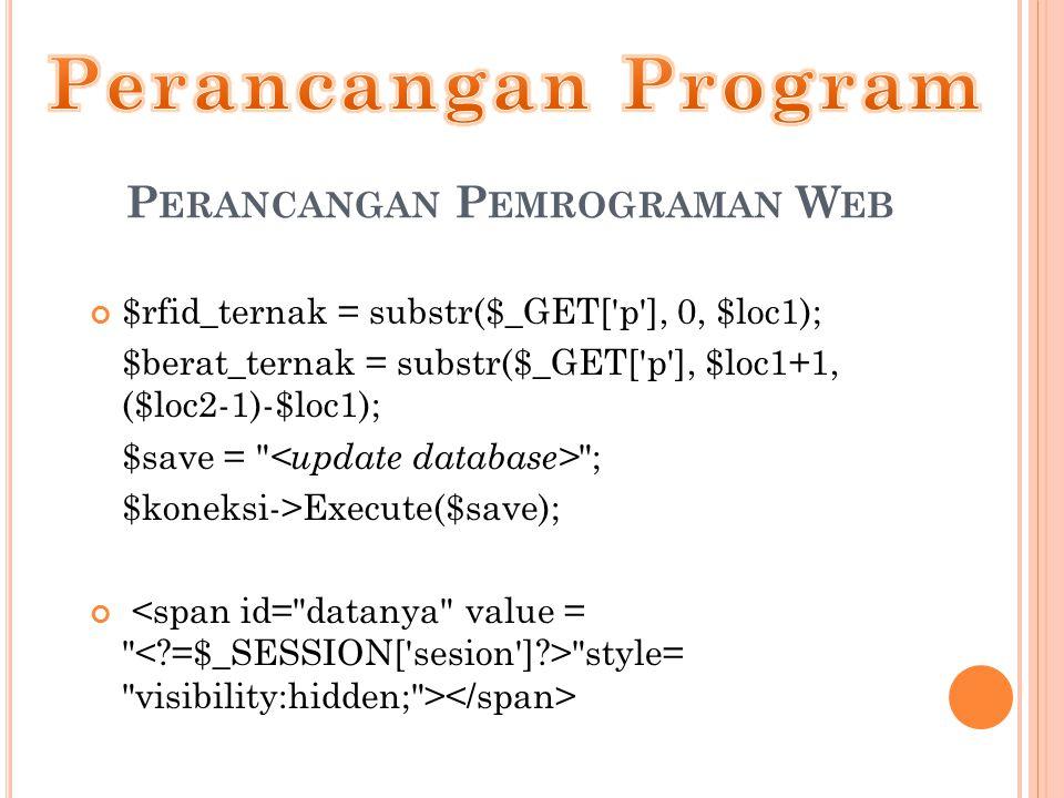 P ERANCANGAN P EMROGRAMAN W EB $rfid_ternak = substr($_GET[ p ], 0, $loc1); $berat_ternak = substr($_GET[ p ], $loc1+1, ($loc2-1)-$loc1); $save = ; $koneksi->Execute($save); style= visibility:hidden; >